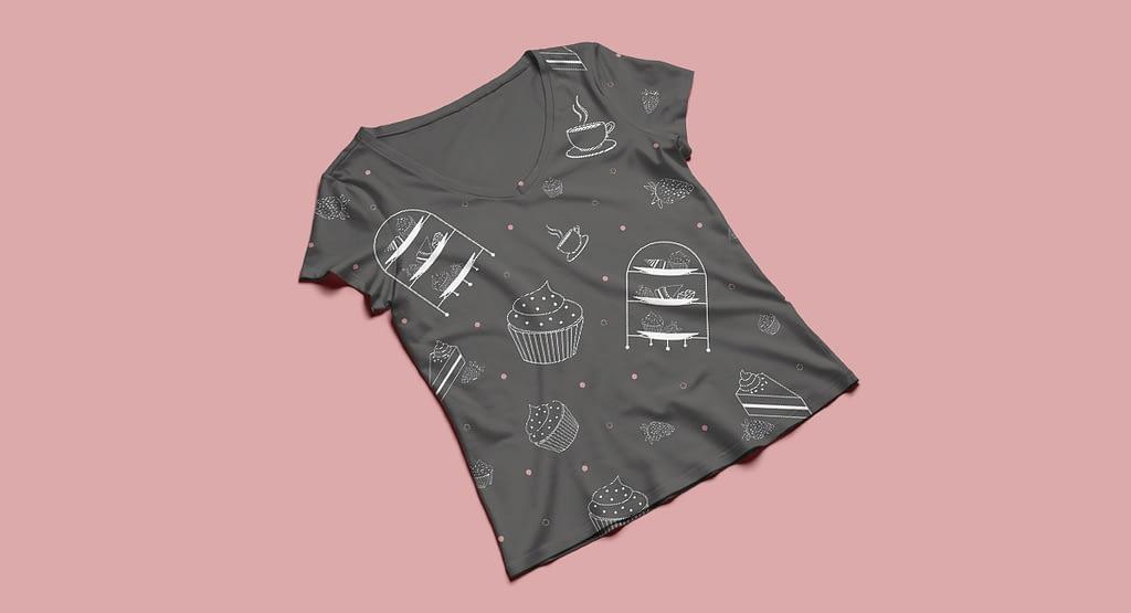 High Tea pattern t-shirt