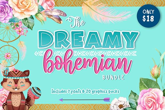 The Dreamy Bohemian Bundle at The Hungry JPEG.