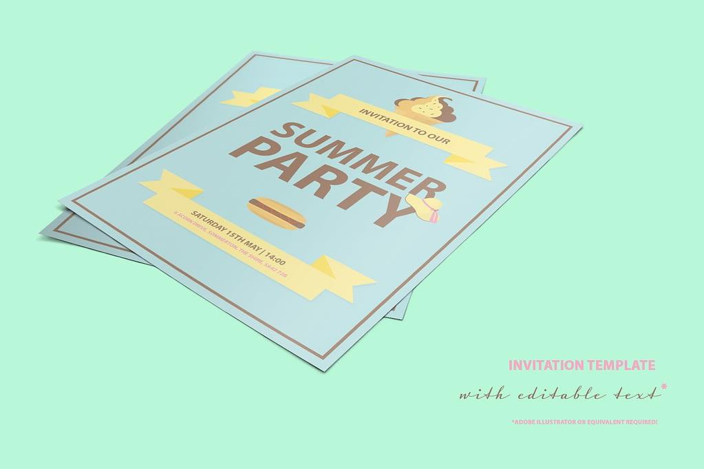 Summer Party Mini FREE invitation template
