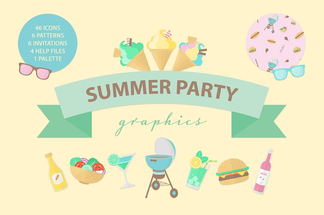 Summer Party Graphics Preview 01
