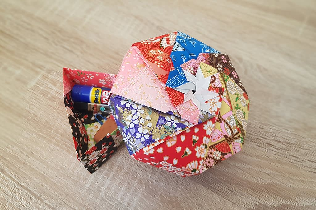 Origami boxes created at home (beginner level).